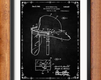 Firefighter Gift for Him Patent Prints - Firefighter Decor - Firefighter Art Posters - Firefighter Helmet - Fire Equipment - 1329