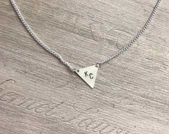Kansas City triangle necklace, triangle charm necklace, sterling silver necklace, geometric necklace, KC necklace, Kansas City jewelry