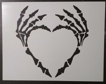 Skeleton Hand Hands Heart Custom Stencil FAST FREE SHIPPING
