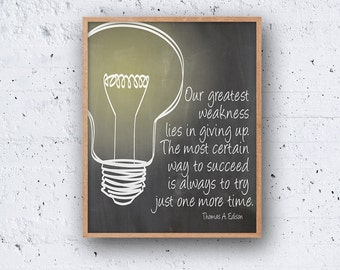 Thomas Edison Quote PRINTABLE Wall Art Gift Digital Download Instant Poster Print Blackboard Chalkboard Light Bulb Modern Simple