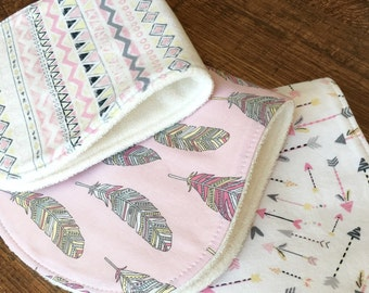 Baby Gift Girl Burp Cloth Feather Burp Cloth Tribal Burp Cloth Bamboo Burp Cloths Cotton Burp Cloth Modern burp cloths Organic