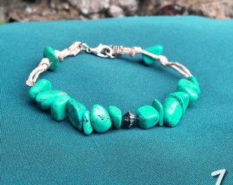 The river - Turquoise magnesite and hemp Bracelet