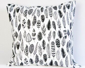 Feather pillow cover, black and white cushion cover, monochrome pillow cover, bohemian nursery decor, hobo throw pillow, monochrome feather