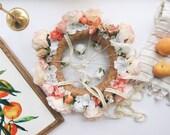 Bright coral & peach nursery flower mobile, floral crib mobile, baby girl mobile, baby mobile, floral chandelier, coral nursery mobile