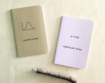 Statistics Stats Nerd Notebook Set - P Value and Normal Curve distribution gaussian significant value funny hilarious geek gift pocket notes