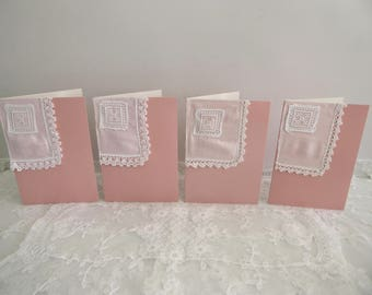 Repurposed fabric note cards set of four, stitched vintage fabric