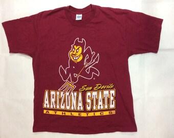 Vintage arizona state sundevils t shirt mens large 90s ncaa college basketball football big logo salem sportswear asu