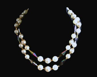 Double Strand Faux Pearl And AB Crystal Necklace, Bridal Jewelry
