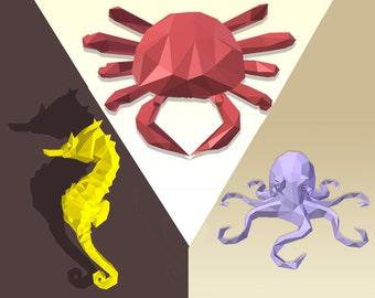 DIY 3D Papercraft 3in1 - Seahorse, Crab, Octopus - PDF, Printable Model, Template