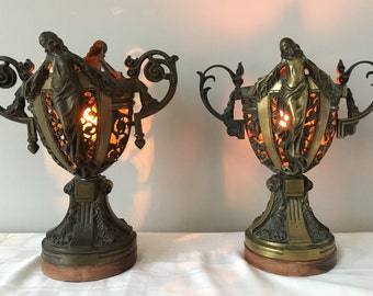 Antique Art Nouveau Bronze Figural Religious Sanctuary Lamp Pair
