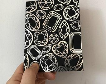 Silver Foil Letterpress Gemstone Design Card, engagement, wedding, thank you, elegant stationery