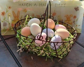 Six Pastel Ceramic Eggs