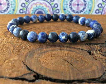 A Grade 6mm Sodalite Bracelet, Throat Chakra, Weight Loss, Meditation Mala, Yoga Gifts, EMF Protection-Self Confidence-Emotionally Soothing