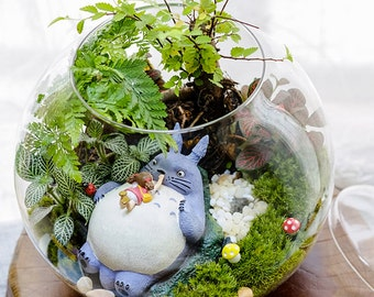 A Set 4 Totoro Terrarium Material Accessories Ghibli Studio Fairy Garden Miniature Girl Lying in Totoro DIY Accessories 4pcs