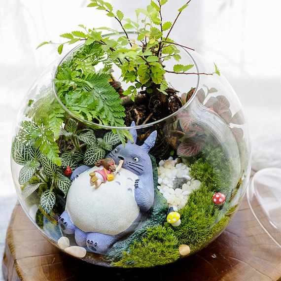 A set 4 totoro terrarium material accessories ghibli studio fairy garden miniature girl lying in for Grande table de jardin verre