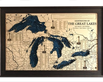 """Great Lakes Lighthouse 3D Wood Carved Depth Contour Map - 45""""x28"""" - Featuring 399 Lighthouses - Customize With Your Home Information"""