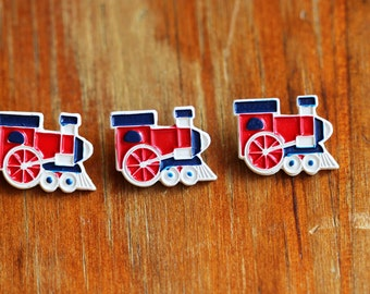 Set of 3 Painted Metal Train Locomotive JHB Buttons