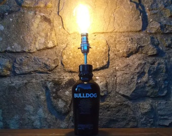 Upcycled Bulldog gin bottle lamp with vintage edison style bulb - ideal for home, office, bar, man cave ... ANYWHERE
