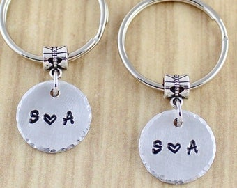 Couples Initials Keychain - Small Handstamped Couples Keychain Set - Small Circles and Initials Key Ring - Boyfriend Girlfriend Keychain