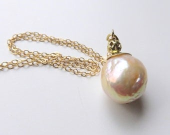 Beige Baroque Pearl Necklace, Cream Pearl Round Pendant on Chain, Gold Fill Pearl Necklace, Freshwater Pearl Wedding Jewelry, For the Bride