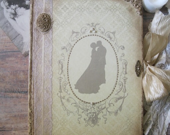 Vintage wedding guest book, shabby chic wedding guest book, wedding memory book, Hochzeitsgästebuch, custom wedding book, bridal shower gift