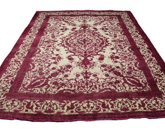 10x12 Vintage Persian Distressed Rug Fuchsia Low Pile Modern Home Decor Pink 2907