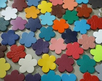 Leather Flowers, 2 cm. (20 mm.) wide, Mixed Colors, Leather Flowers Die Cut, Flowers Decoration, DIY Projects,