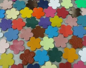 Leather Flowers, 16mm. 20mm. 25mm. 30mm. , Mixed Colors, Leather Flowers Die Cut, Leather Decoration, Flowers Die Cut.