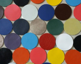 Leather Circles, 50 Pcs.(25 pairs), 40 mm. (4 cm.), Mixed Colors, Circles Die Cut, Circles Shape, Circles Style, Circles Cut Outs.
