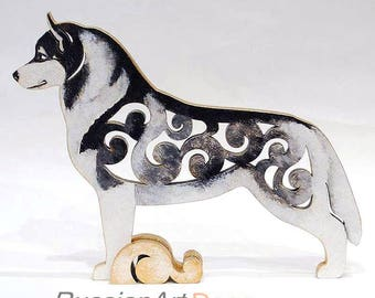 Siberian Husky, statue made of wood (MDF), hand-painted with acrylic and metallic paint