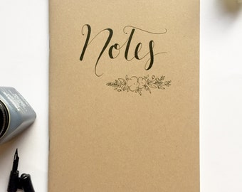 Hand illustrated notebook, notes, floral, typography, gift