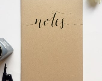 Hand illustrated notebook, notes, typography, gift