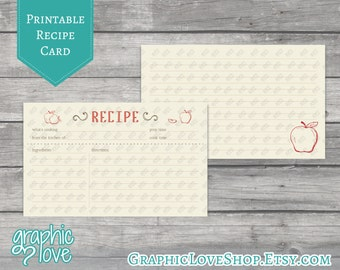 Red Apple Printable 3x5 Double Sided Recipe Card | Digital JPG Files, Instant Dowload