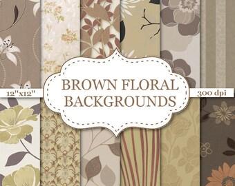 "BROWN FLORAL BACKGROUNDS Digital Paper Floral Digital Papers Paste Brown floral paper Big Flower Scrapbook paper 12""x12"" #P081"