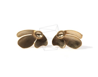 ERG-223-MG/2Pcs-rabbit Ear Post/ 12mm x 19mm /Matte Gold Plated over  Brass/925 sterling silver post
