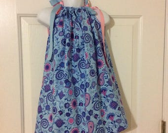 Blue Flower Pillowcase Dress Size 3T