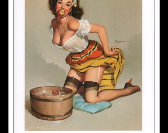 "Gil Elvgren Vintage Pinup Illustration ""The Winner 1959"" Sexy Pinup Mature Wall Art Deco Book Print 9 3/4"" x 14"""