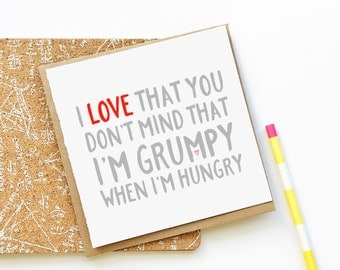 Grumpy Love Card, Anniversary Card, Valentine's Day Card, Funny Card, Cute Card, Love Card