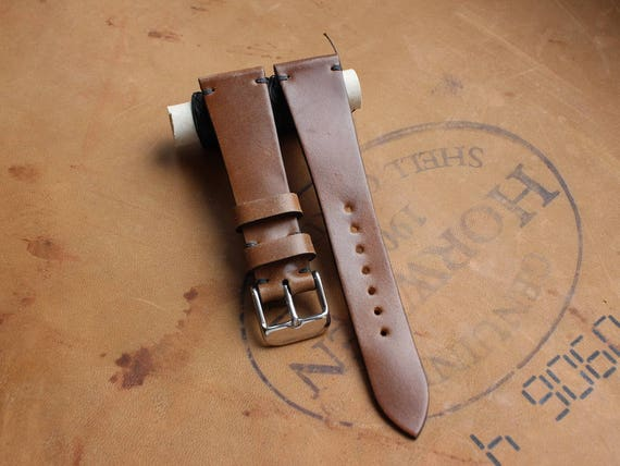 20/16mm Bourbon Horween Shell Cordovan watch band - simple side stitch