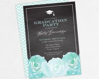 Graduation Invitation, Graduation Announcement, Printable Invitation, Invitation PDF, DIY, Printed, Watercolor Flowers, Chalk, Blue, Hailey