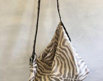 Reclaimed Fabric and Belt Boho Bag, Silver and Beige Zebra Motive , Black Leather Belt Strap, One-of-a-kind Bag