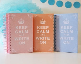 Wire-bound Notebook Journal, Keep Calm and Write On, 180 page memo
