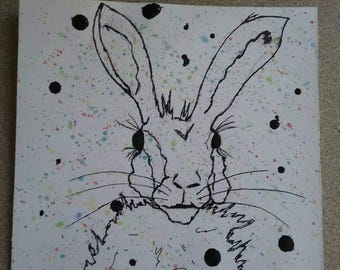 Rabbit, pen and ink, watercolors, bunny, drawing, bunny rabbit, mixed media, small paper drawing, rabbits, bunnies, Hare, Easter, Eastertime