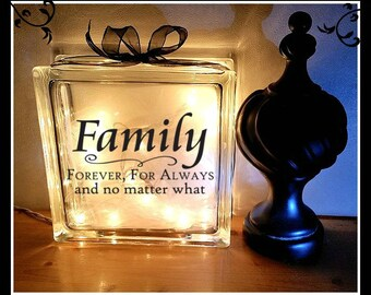 Family Glass Block, Night Light, 8 x 8, Personalized glass block, lighted block