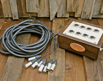 8-Channel Audio Snake with Wooden Junction Box With Mogami Cabling