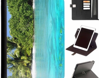 Palm tree in water Apple ipad 360 swivel i pad leather case cover with card slots