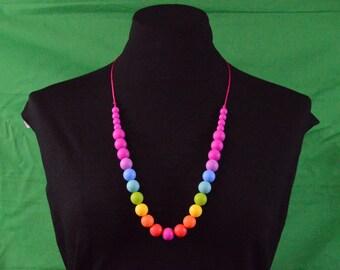 Silicone Teething Necklace - Rainbow