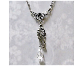 Guardian Angel Wings charm necklace with crystal Tibetan Silver