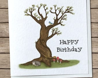 British Woodland Greetings Card - Birthday, Any Occasion, Customizable/Personalised