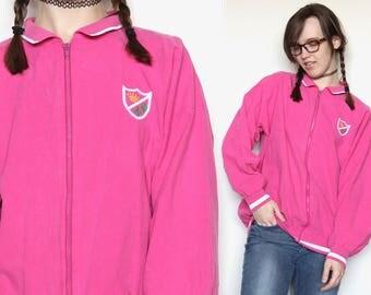 Retro 80s Hot Pink Jacket Vintage Sports Jacket Neon Jacket Lightweight Thin Tennis Jacket Hipster Jacket Kawaii Jacket Size M/L